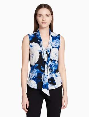 Calvin Klein floral stretch tie neck sleeveless top