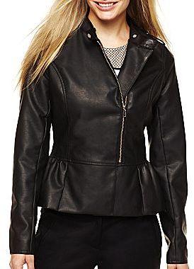 JCPenney Worthington® Faux Leather Peplum Motorcycle Jacket