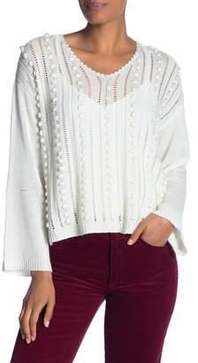 Fate Pompom Knit V-Neck Sweater
