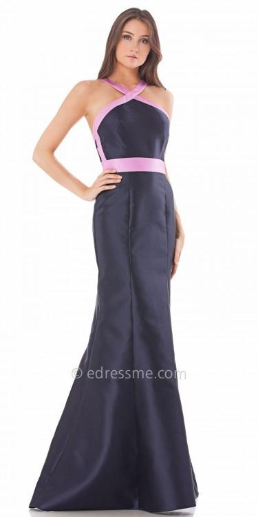 Carmen Marc ValvoCarmen Marc Valvo Infusion Cris Cross Satin Halter Evening Dress