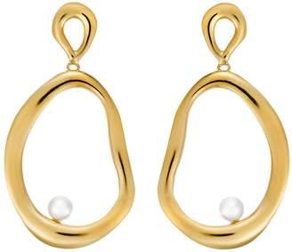 Ileana Makri EYE M by Large Flow Dangling Pearl Hoop Earrings