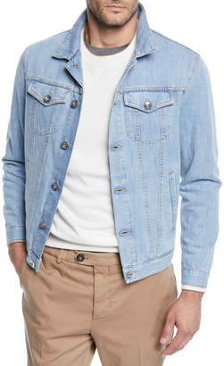 Brunello Cucinelli Men's Light Wash Denim Jacket