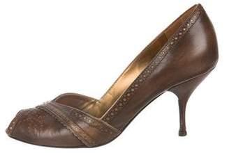 Prada Leather Peep-Toe Pumps