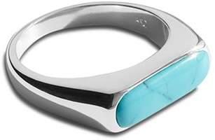 Shinola Sterling Silver Elongated Turquoise Signet Ring