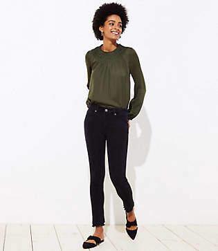 LOFT Curvy Double Frayed Soft Skinny Jeans in Black