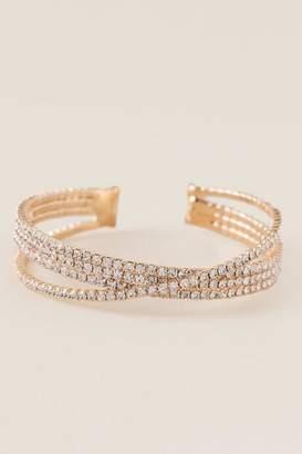 francesca's Ming Criss Cross Cuff Bracelet - Gold