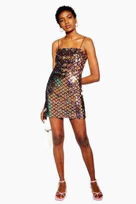 Topshop Womens Diamond Sequin Mini Dress - Lavender