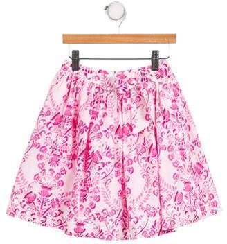 Oscar de la Renta Girls' Printed Tulle Skirt