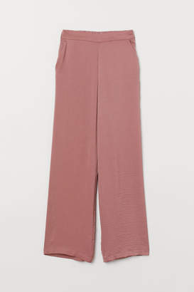 H&M Wide-cut Pull-on Pants - Pink