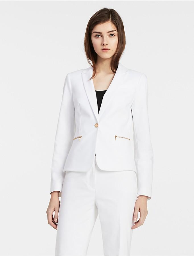Calvin KleinCotton Blend Zip Suit Jacket