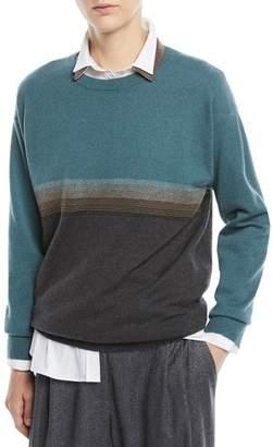 Brunello Cucinelli Crewneck Bicolor Horizontal-Stripe 2-Ply Cashmere Sweater