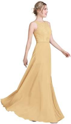Loffy Women's Long Prom Dress Bridesmaid Dress Lace Chiffon Evening Gown