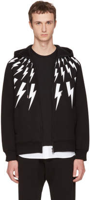 Neil Barrett Black Neoprene Fairisle Thunderbolt Hoodie