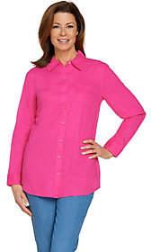 Denim & Co. Denim&Co. Petite Linen Blend Long Sleeve ButtonFront Tunic