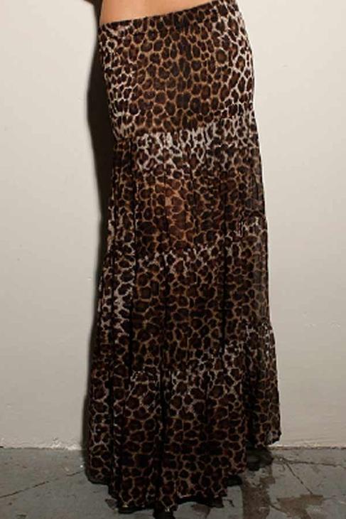 Blu Moon Almost Famous Skirt in Leopard Georgette