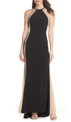 Xscape Evenings Beaded Sides Halter Gown