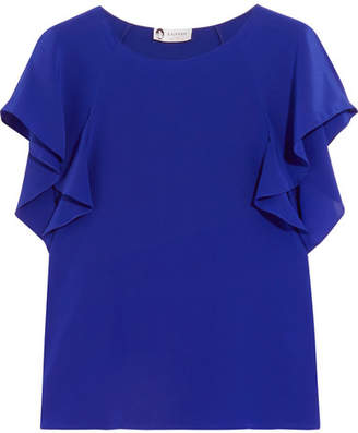 Lanvin - Ruffled Crepe De Chine Top - Cobalt blue $850 thestylecure.com
