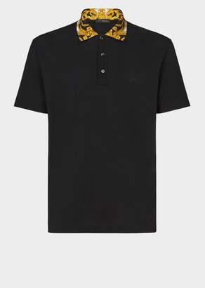 Versace Gold Hibiscus Print Collar Polo Shirt