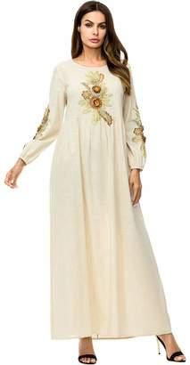 Ababalaya Women's Muslim Islamic Casual O-Neck Long Sleeve Embroidered Full Length Abaya Dress