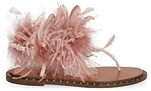 Valentino Women's Soul Feathers Thong Sandals