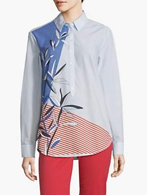 Betty Barclay Striped Leaf Print Shirt, Light Blue/White