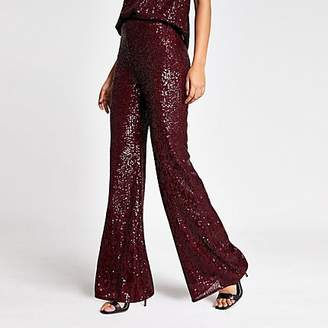 River Island Dark red sequin embellished flare trousers