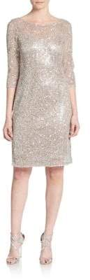 Kay Unger Sequined Shift Dress