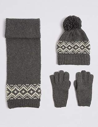 Marks and Spencer Kidsâ Hat, Scarf & Gloves Set