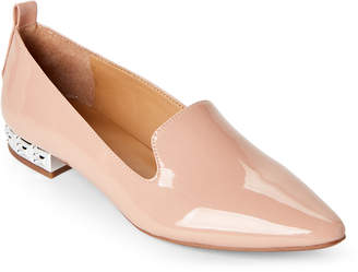 Franco Sarto Peach Patent Shelby Studded Heel Loafers