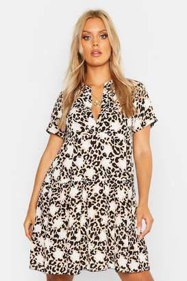 boohoo Plus Star Leopard Short Sleeve Tiered Smock Dress