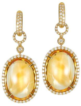 White Diamonds and Cabochon Citrine 18K Yellow Gold Drop Earrings