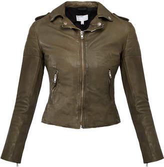 Muu Baa Muubaa Olive Green 'Presley' Leather Biker Jacket