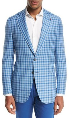 Isaia Domenico Gingham Two-Button Sport Coat, Light Blue/White $2,995 thestylecure.com