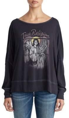 True Religion WOMENS ANGELS AND SKELETONS OPEN BACK SHIRT