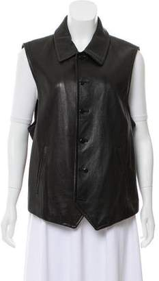 Donna Karan Button-Up Leather Vest