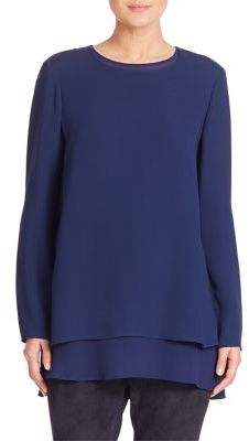 Lafayette 148 New York Silk Double Georgette Reece Blouse $498 thestylecure.com