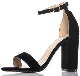 Quiz Black Block Heel Sandals