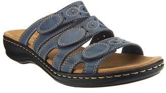 Clarks Leather Triple Strap Slides - Leisa Cacti