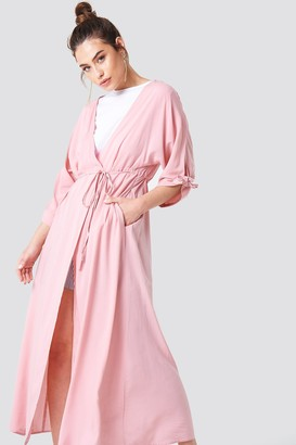 Na Kd Boho Tied Sleeve Coat Dress Cherry