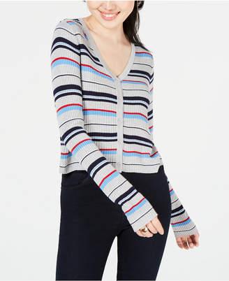 0ea8941602c3 Ultra Flirt Juniors  Striped Cropped Cardigan