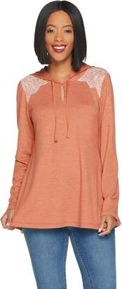 Logo By Lori Goldstein LOGO Lounge by Lori Goldstein French Terry Hooded Top with Lace Panel