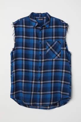 H&M Sleeveless Flannel Shirt - Blue