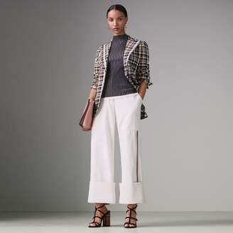 Burberry Sleeveless Rib Knit Cashmere Silk Turtleneck Sweater, Grey