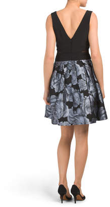 Xscape Evenings Made In Usa Foil Floral Party Dress