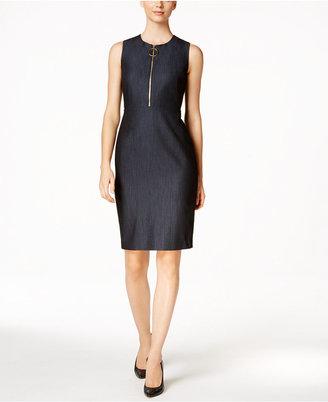 Calvin Klein Zip-Front Sheath Dress $134 thestylecure.com
