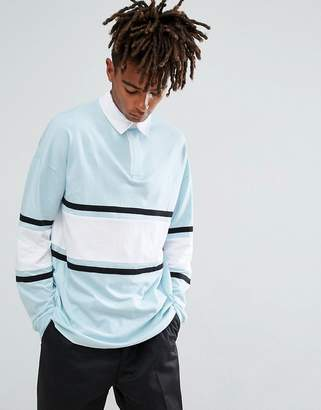 Asos Oversized Long Sleeve Rugby Polo Shirt With Contrast Panelling In Blue