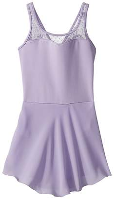 Bloch Keyhole Back Bow Mesh Skirted Tank Leotard Girl's Jumpsuit & Rompers One Piece