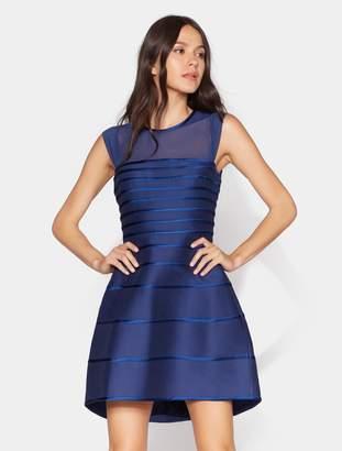 Halston Satin Strip Structured Dress