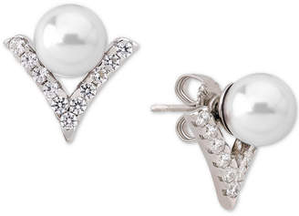 Majorica Sterling Silver Imitation Pearl and Crystal V Earring Jackets