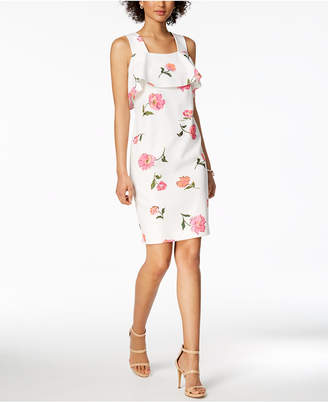 Nine West Floral-Print Ruffle Dress